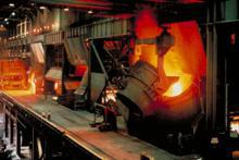 Molten iron in a furnace