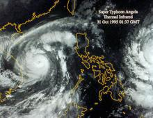 Super Typhoon Angela satellite imagery from 1995